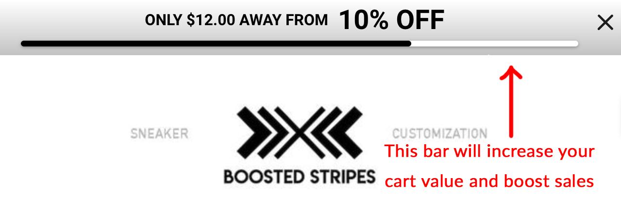 Screenshot showing Sumo smart bar (before discount)