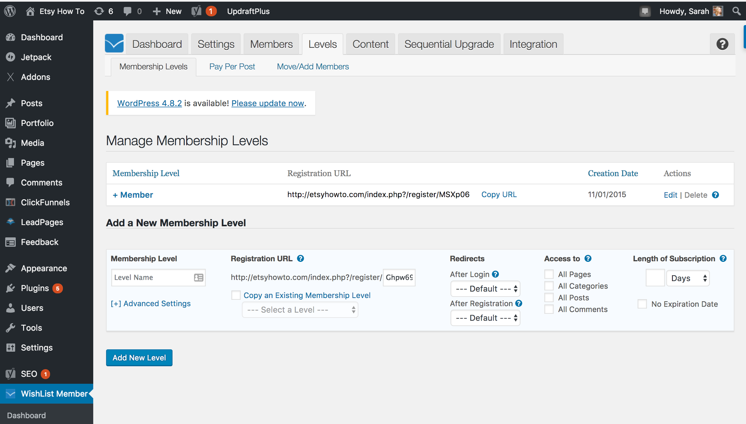 Screenshot of the Wishlist memberships wordpress plugin