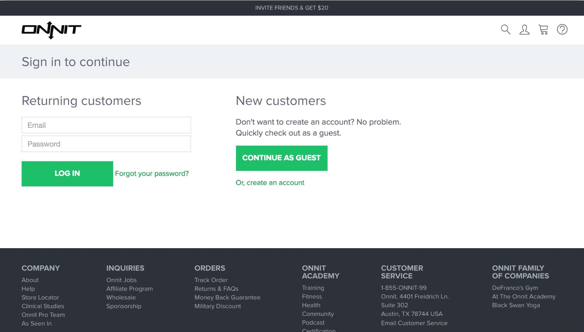 Screenshot showing an ecommerce website
