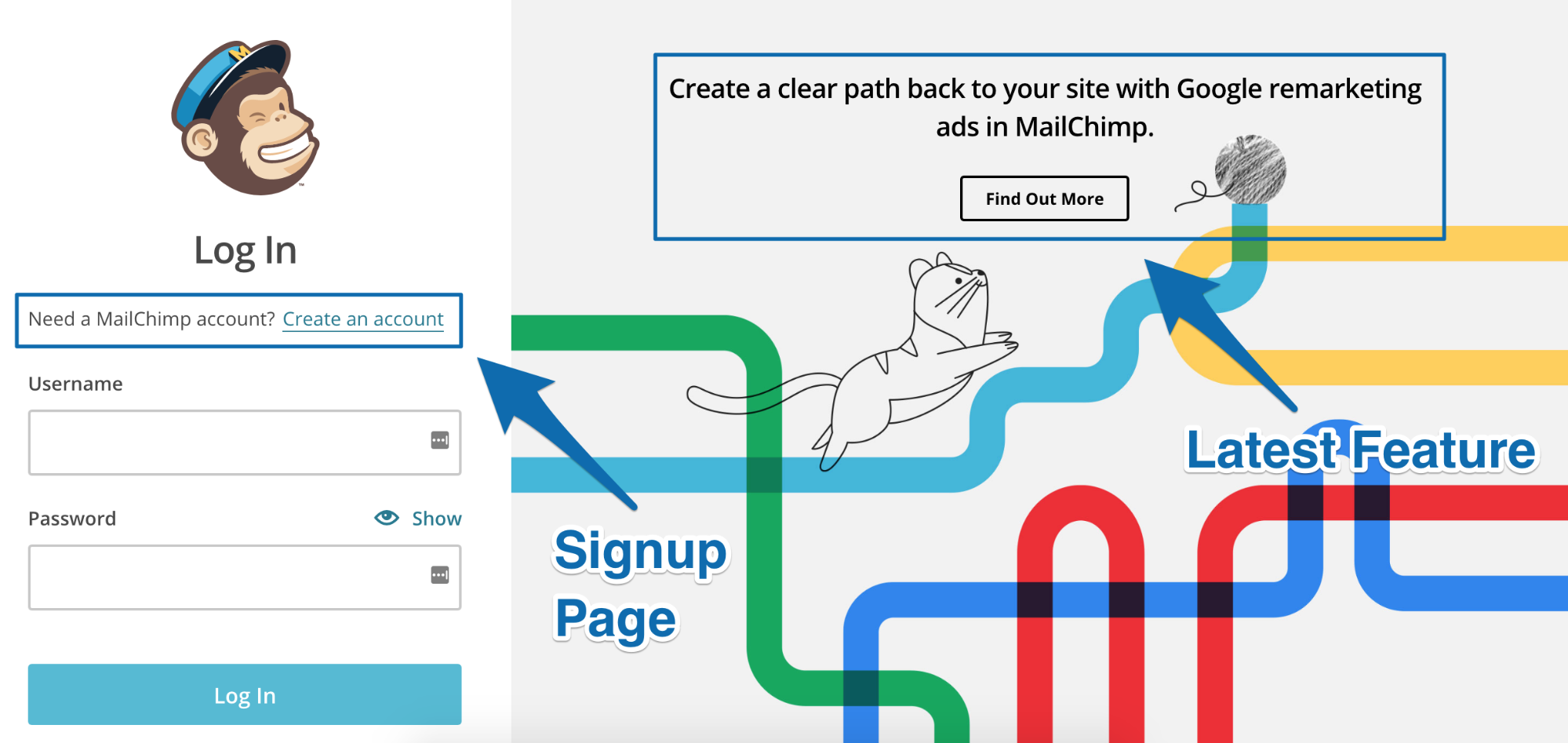 Screenshot showing the login page for mailchimp