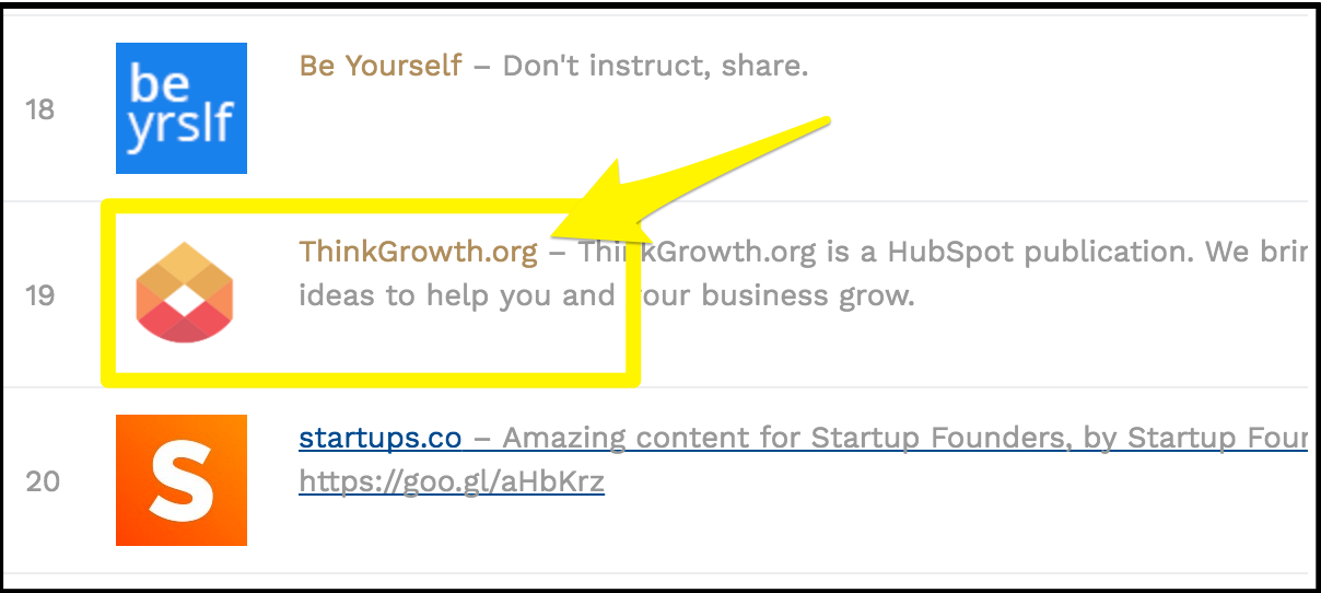 Screenshot showing a hubspot publication on a list