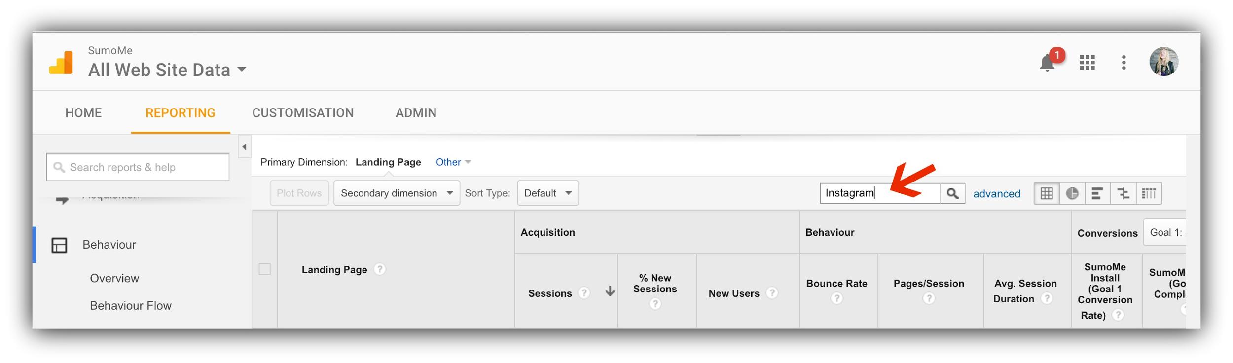 Screenshot showing google analytics website data page