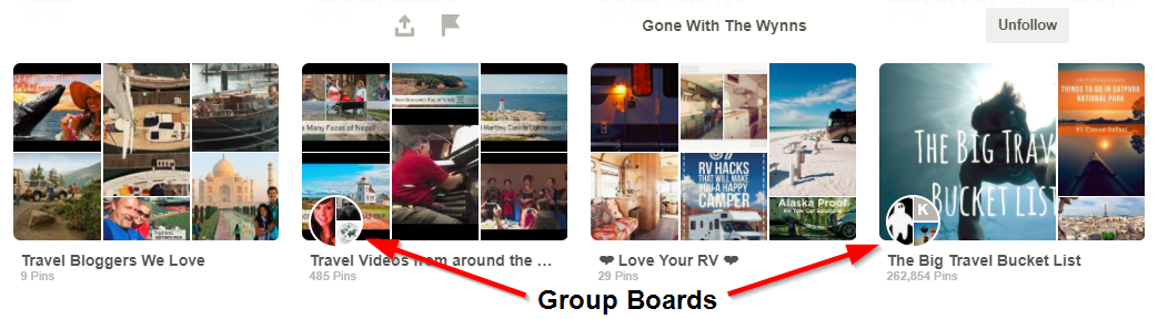 Screenshot showing different group boards on pinterest