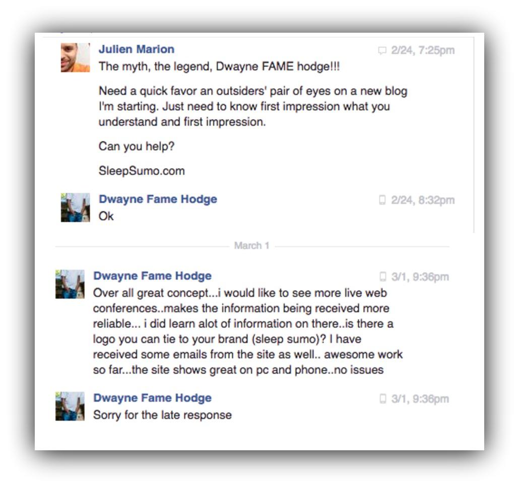 Screenshot showing a Facebook conversation