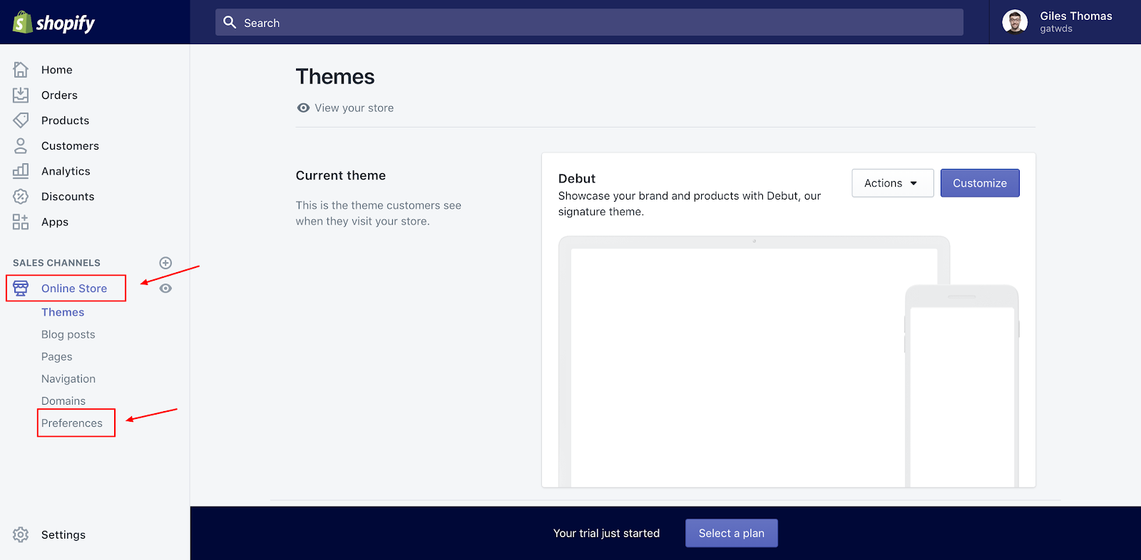 Screenshot showing a page on the Shopify dashboard