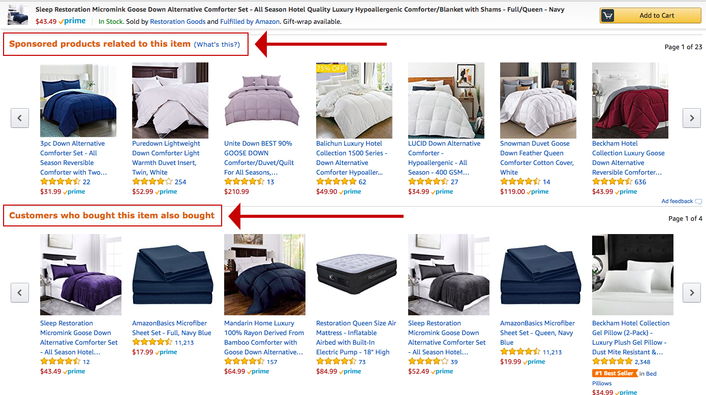Screenshot showing products on amazon