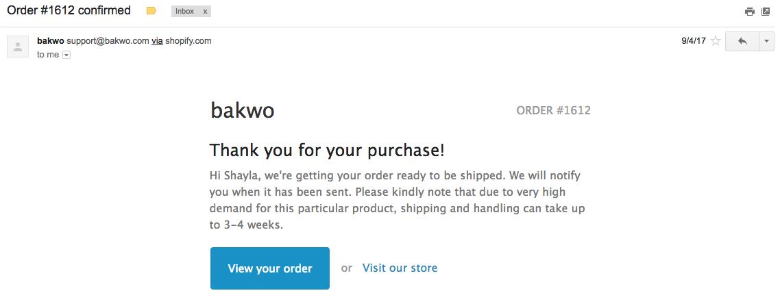 Screenshot showing an email by bakwo