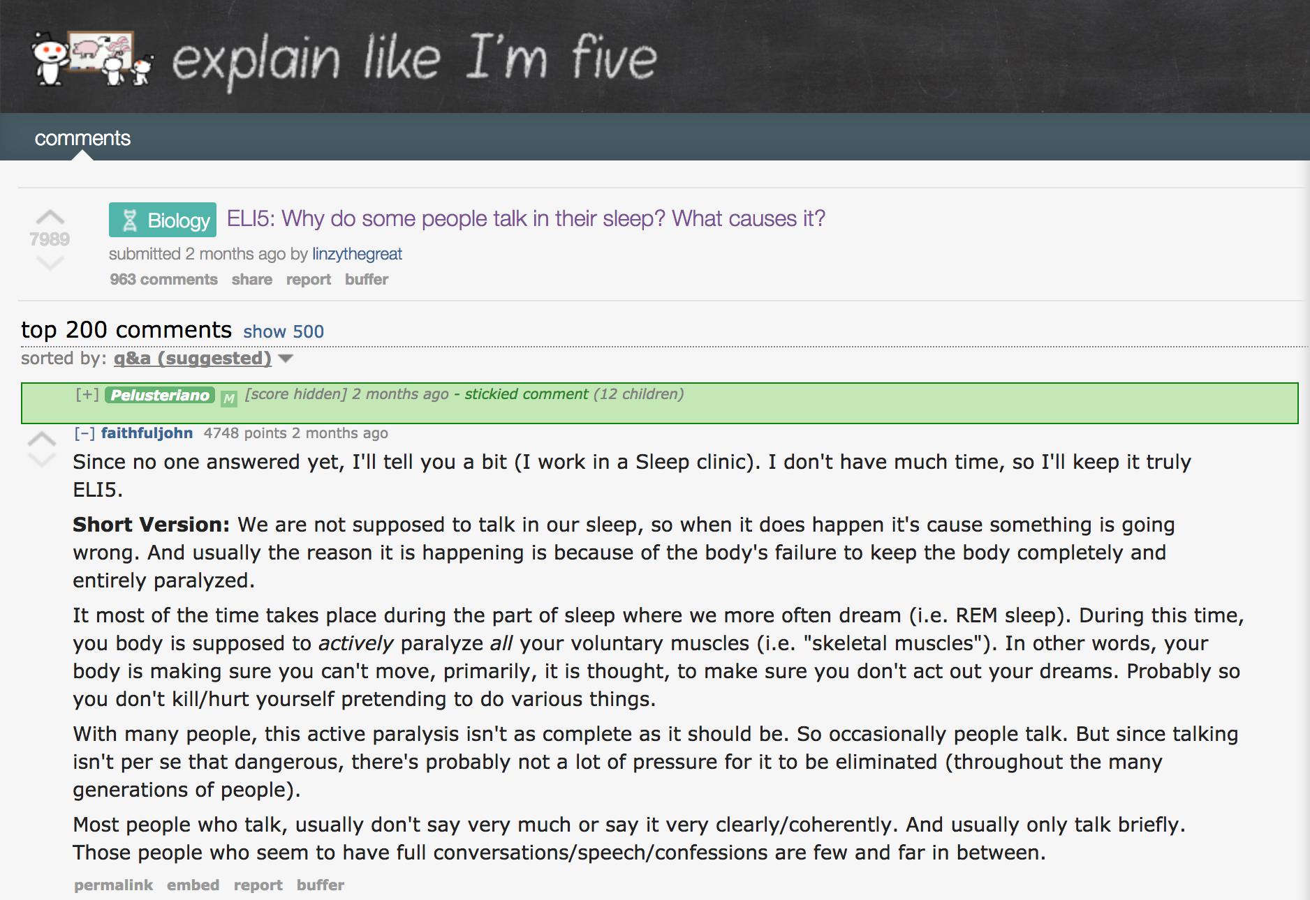 Screenshot showing an ELI5 thread on reddit