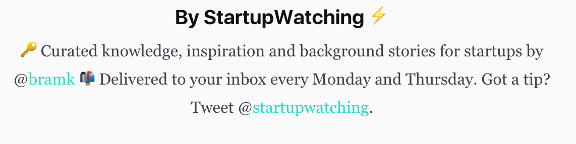 Screenshot of information about StartupWatching, a newsletter about startups
