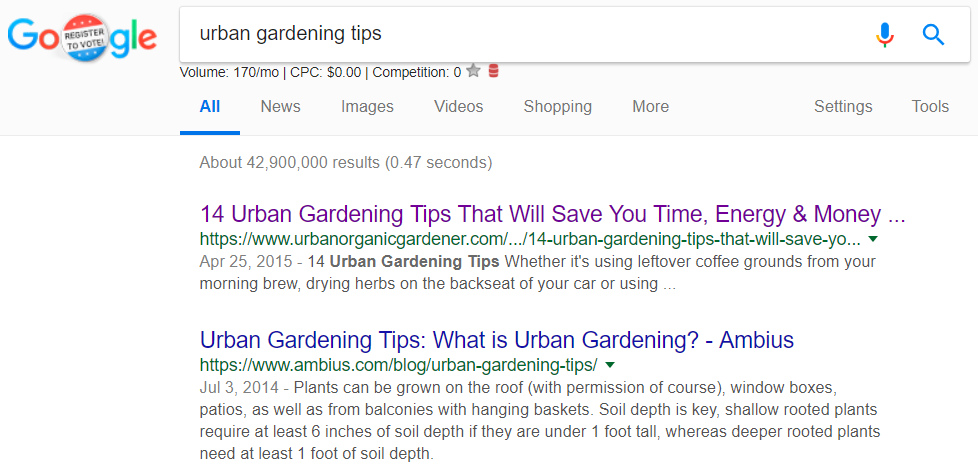 """Screenshot showing search results for """"urban gardening tips"""""""