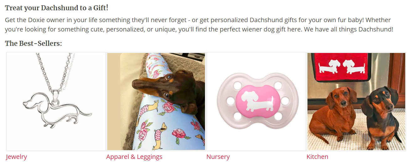 Screenshot showing different best-sellers for a dachschund