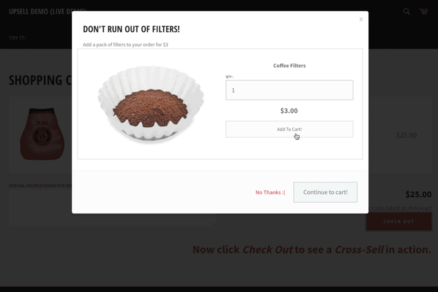 Screenshot showing coffee filter cross-sell example