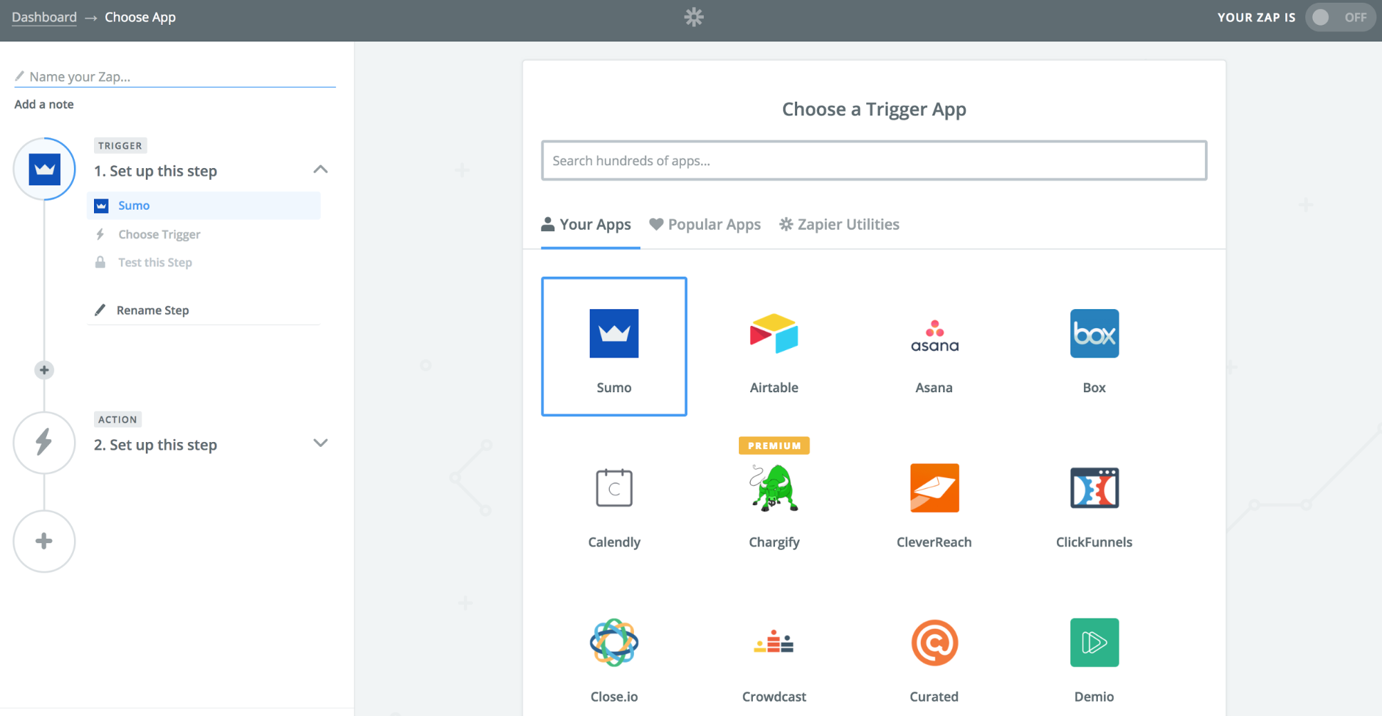 Screenshot showing trigger app selection page on Zapier