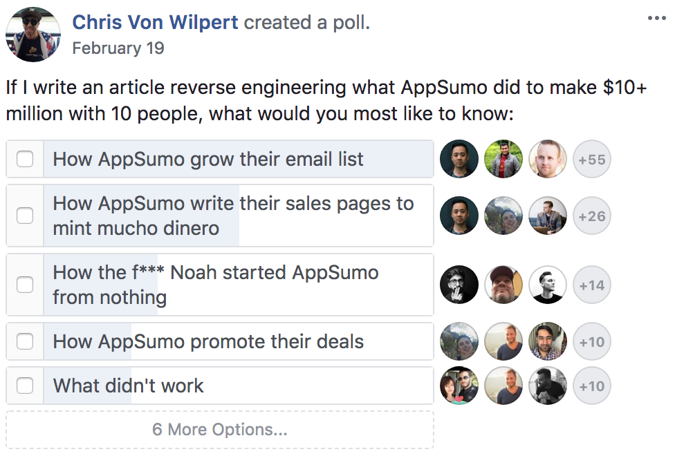 Screenshot showing a Facebook poll about what people would like to know