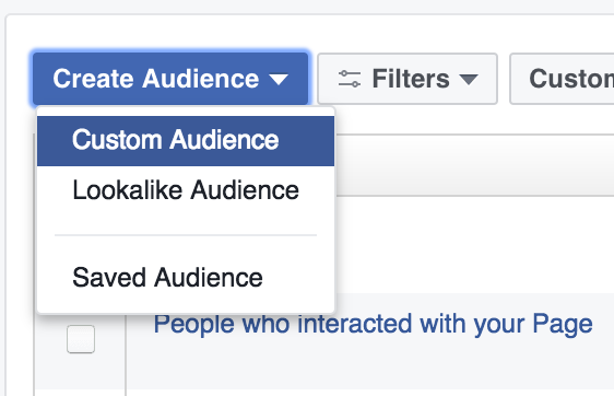 Screenshot of the create audience button/dropdown menu on Facebook Ads
