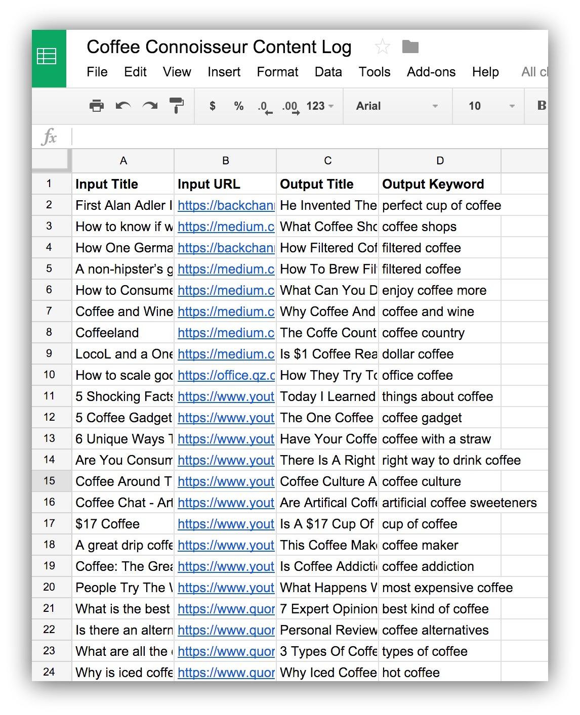 content log spreadsheet example