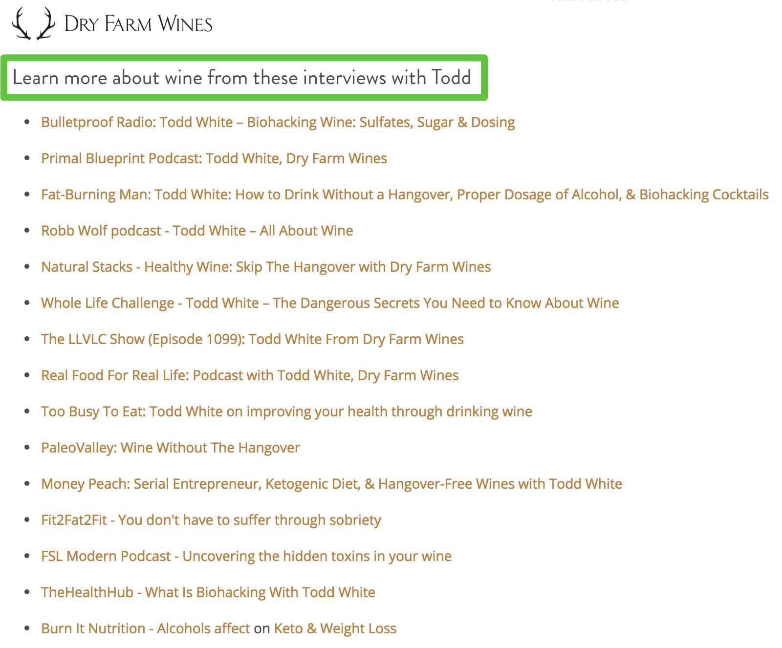 Screenshot showing a list of interviews