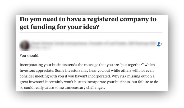 Screenshot of an answer on Quora