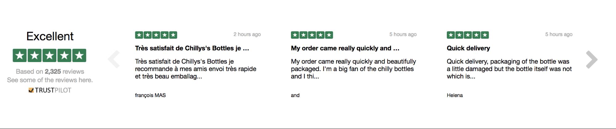 Screenshot showing reviews for a website