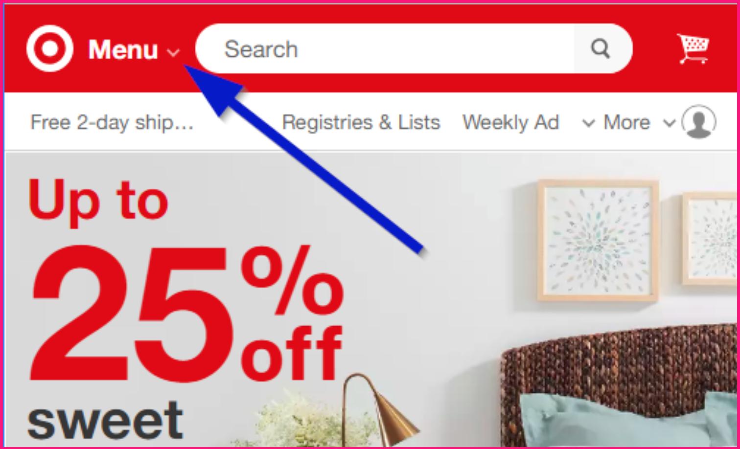 Screenshot showing how Target uses an arrow-click menu looks like on their website