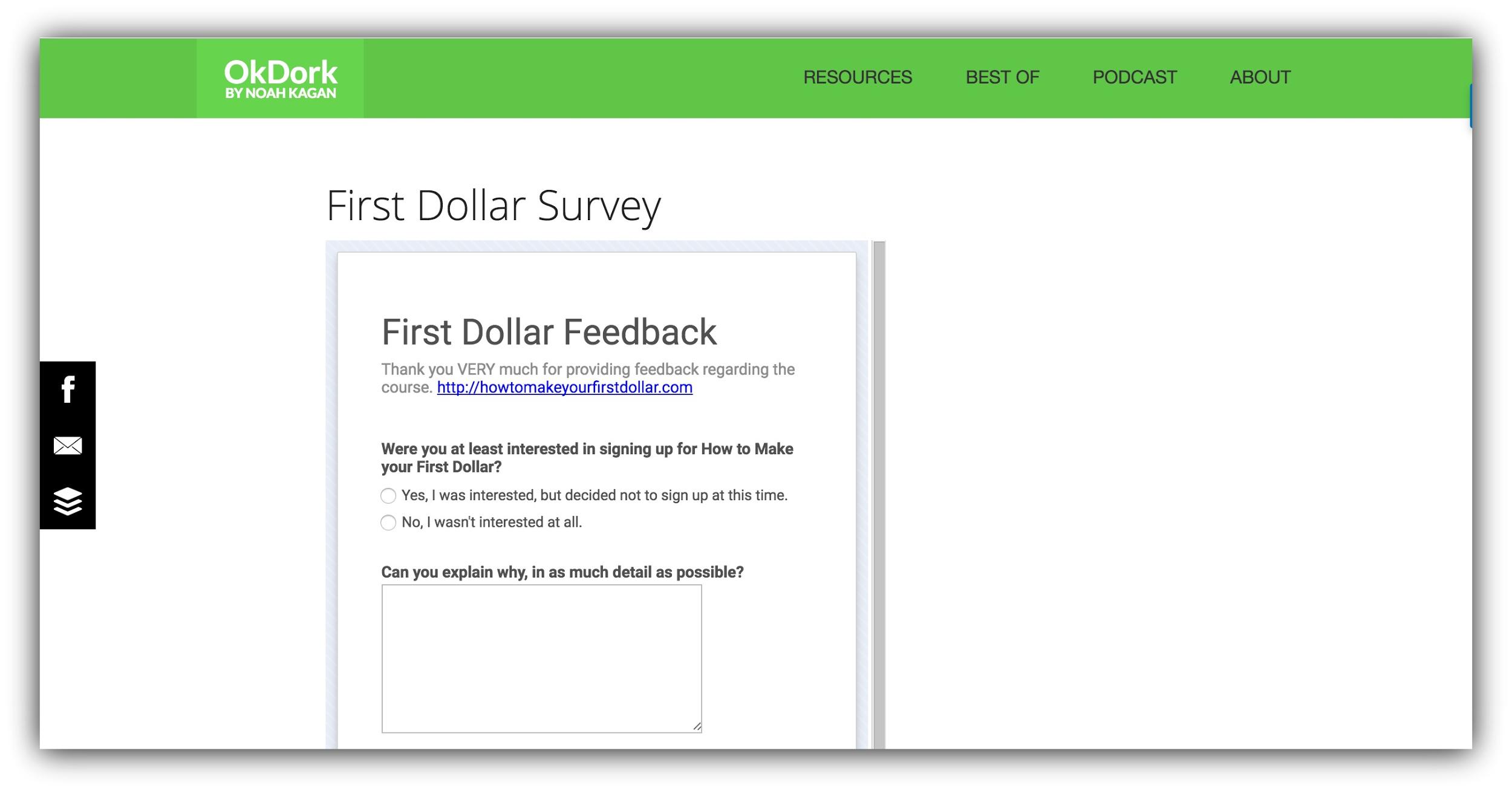 ok dork first dollar survey