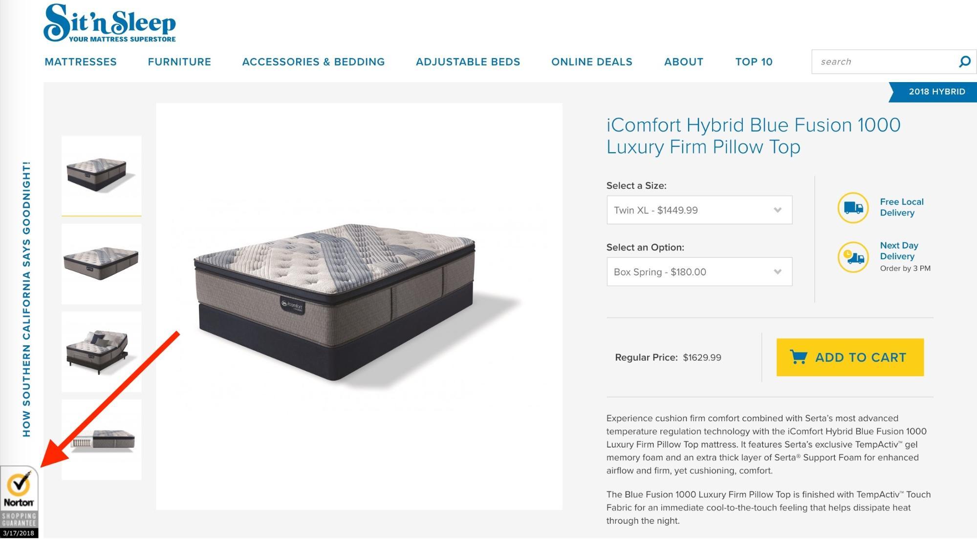 Screenshot showing a bed