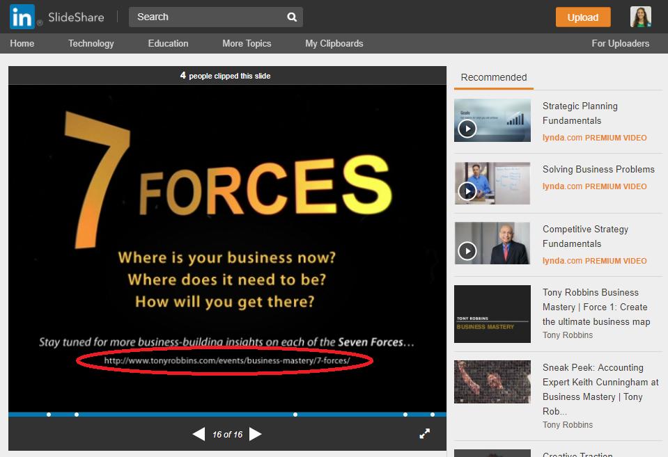 Screenshot showing a LinkedIn slide