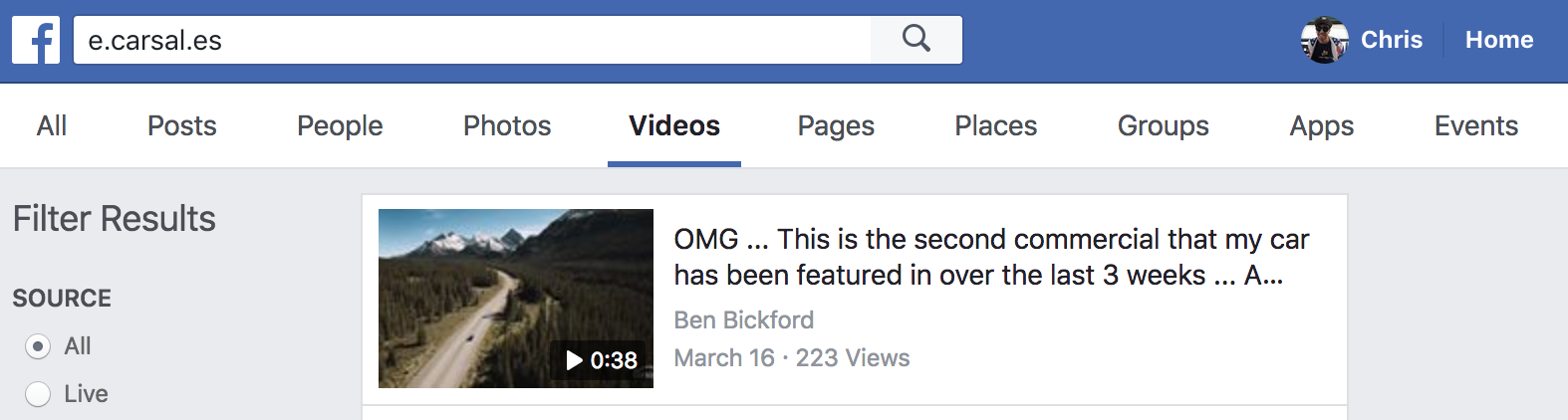 Screenshot showing a facebook video