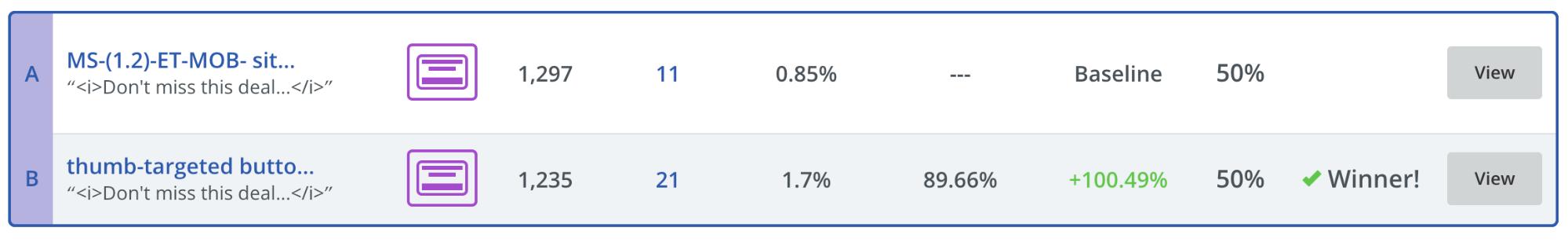 Screenshot showing Sumo a/b test stats