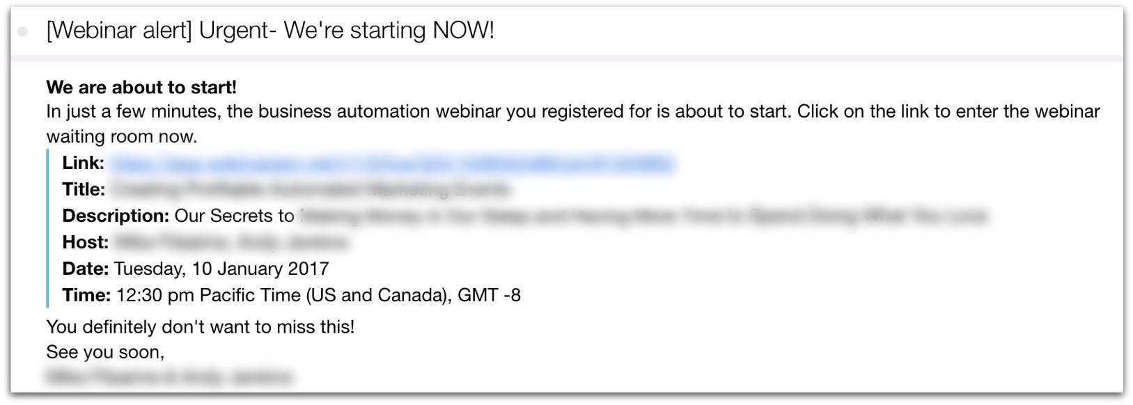webinar alert email