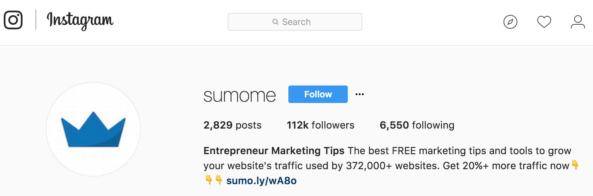 Screenshot of the Sumo Instagram account