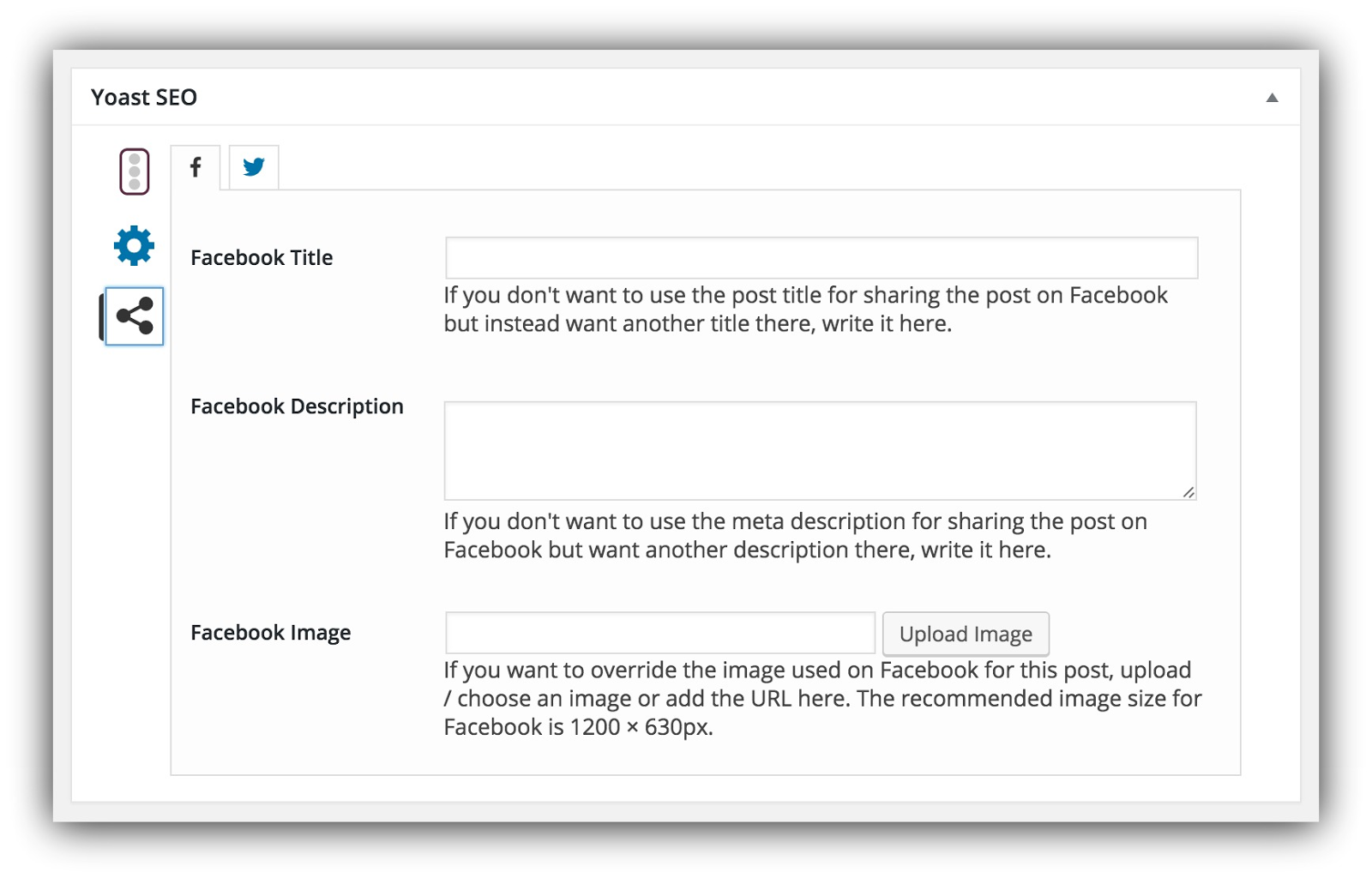 Screenshot of the Facebook settings of Yoast SEO plugin