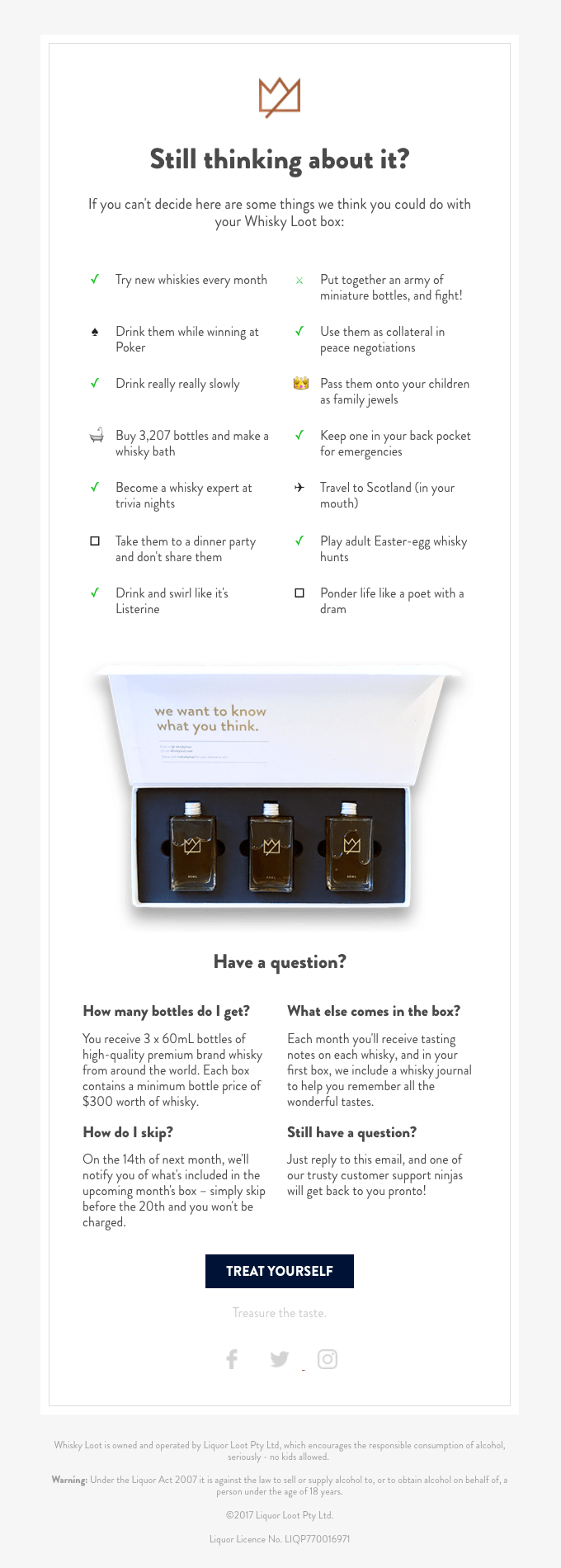 Screenshot showing a reminder email