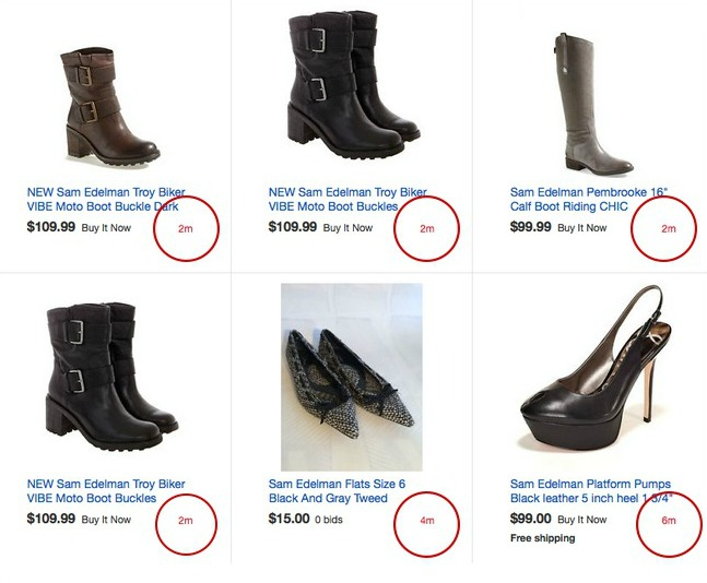 Screenshot of scarcity marketing in action with timer countdowns for an online shoe store