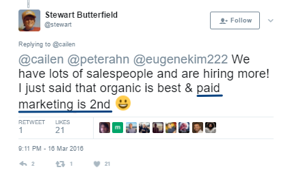 Screenshot showing a Twitter post about organic/paid marketing