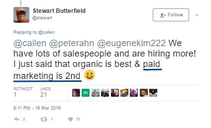 Screenshot showing a Twitter post about organic/paid marketing