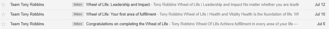 Screenshot of emails sent by the Tony Robbins team