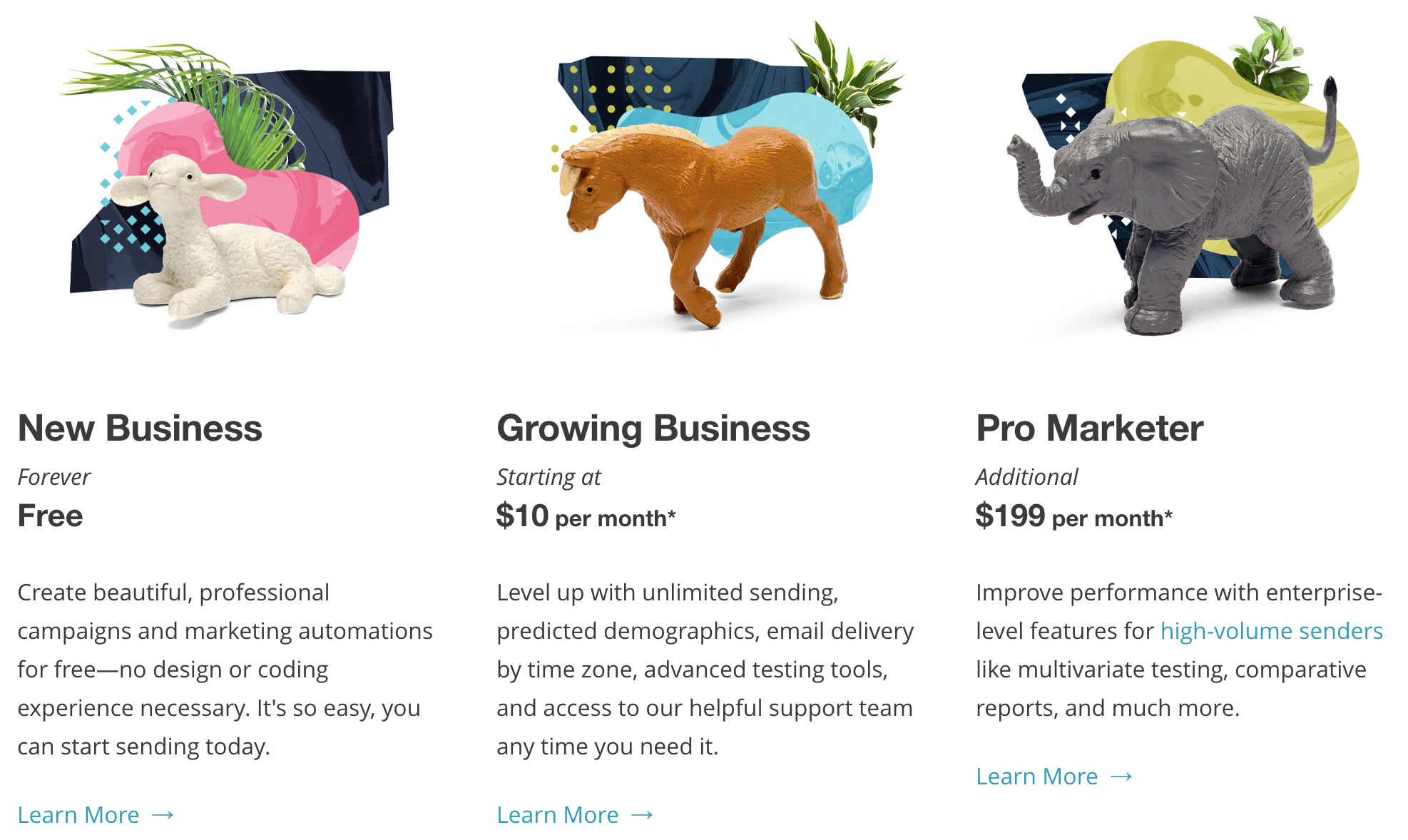 Screenshot showing different mailchimp plans