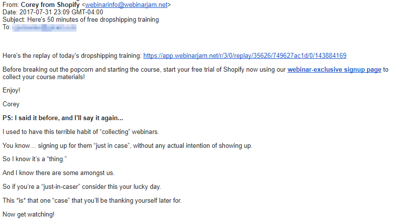 Screenshot showing a webinar email from Shopify
