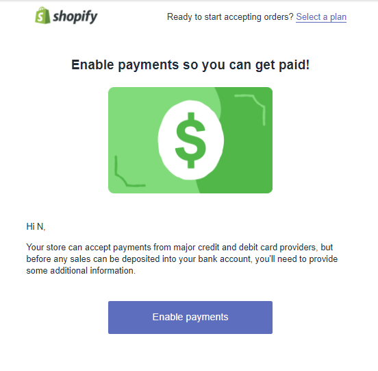 "Screenshot showing the ""enable payments"" page on shopify"