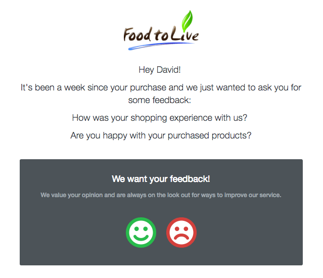 Screenshot showing an email by Food To Live