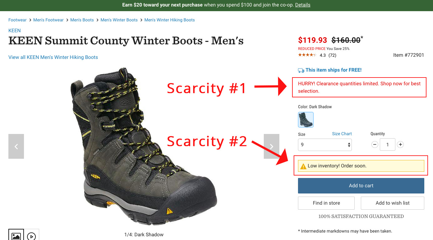 Screenshot showing a product page for boots