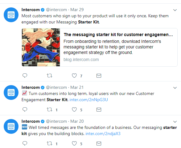 Screenshot showing tweets by intercom
