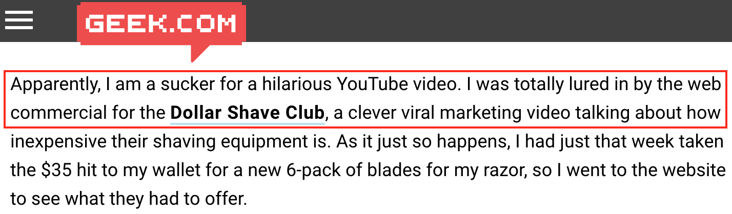Screenshot showing a post on Dollar Shave Club on geek.com