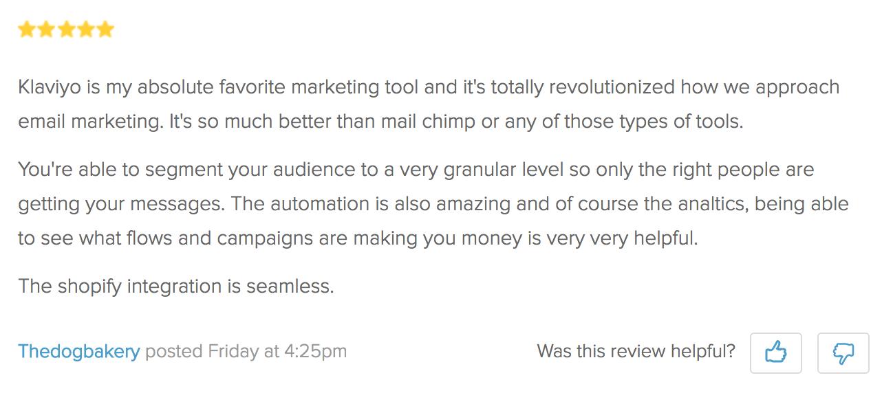 Screenshot showing a review for Klaviyo