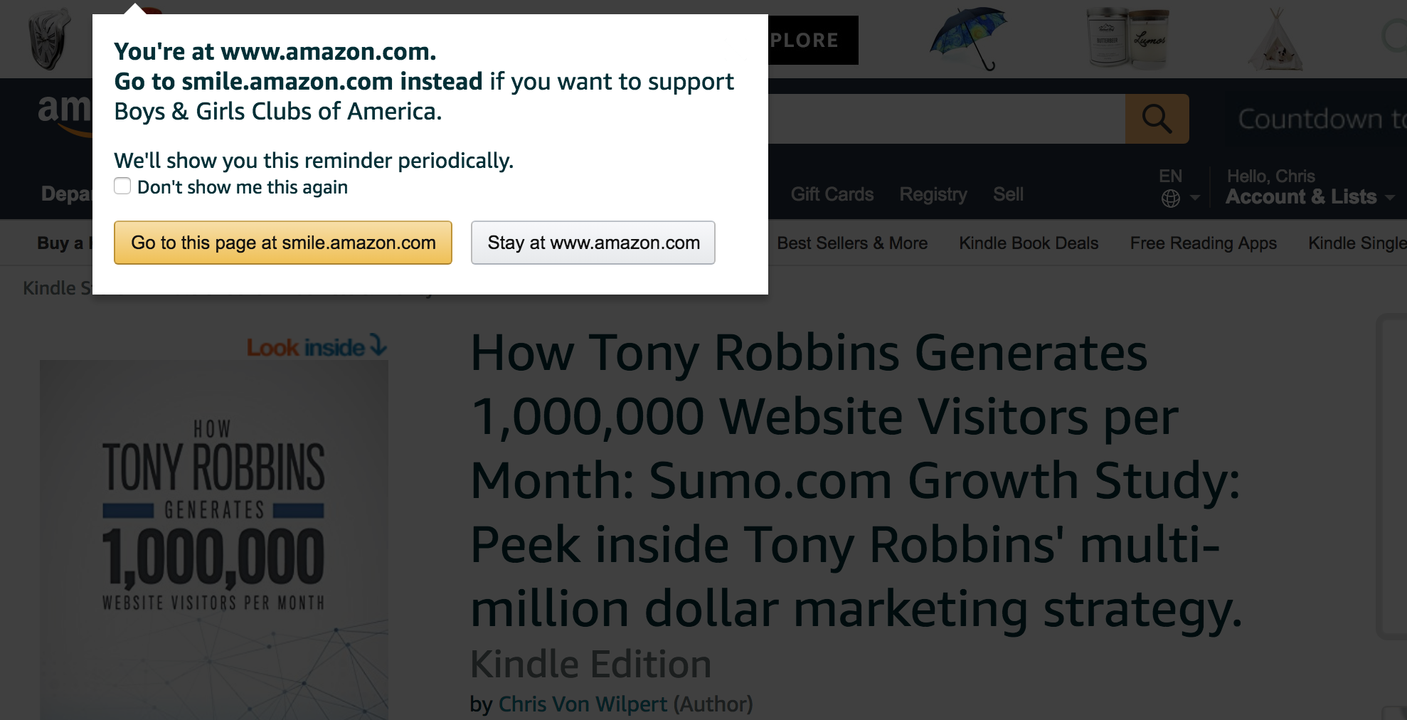 Screenshot showing a popup on Amazon.com