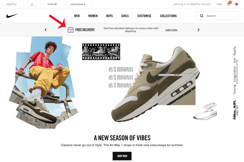 Screenshot showing a Nike landing page