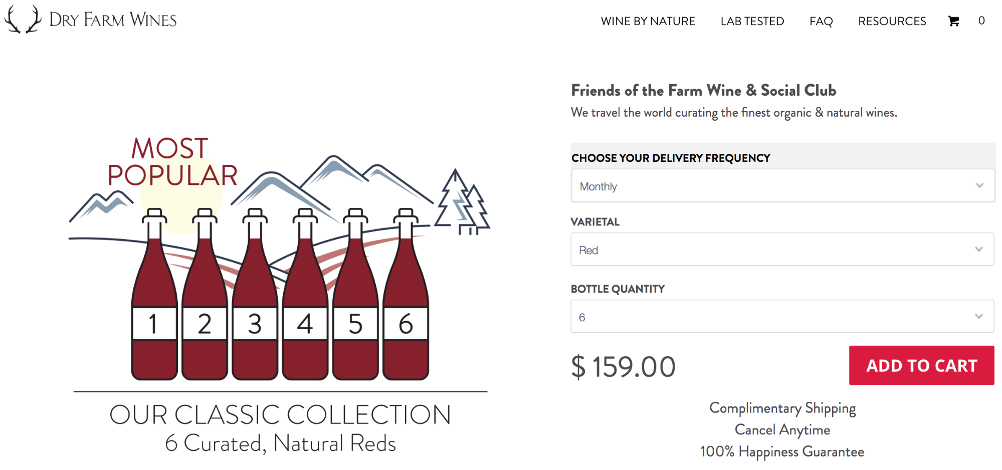 Screenshot showing a product page on a wine store