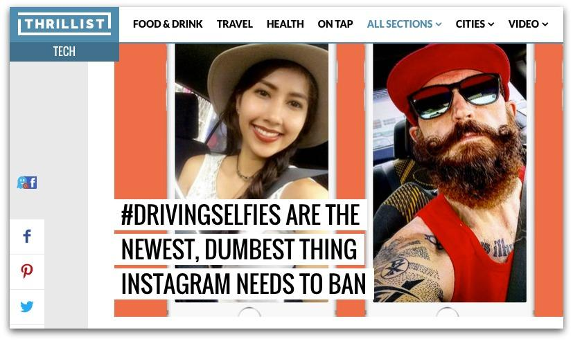 Screenshot of an article about the prevalence of driving selfies on Instagram