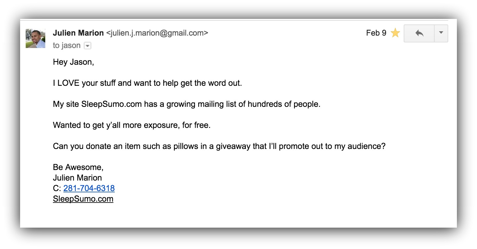 Screenshot of an outreach email to ask for pillows to create a giveaway
